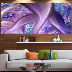 Designart 'Purple Fractal Curves' Abstract Wall Art on Canvas