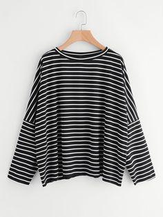 6d6cf6cd2 Shop Drop Shoulder Striped Dolman T-shirt online. SheIn offers Drop  Shoulder Striped Dolman