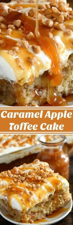 Caramel Apple Toffee Cake: a homemade - from scratch - poke cake is filled with bites of apple, toffee, caramel sauce and topped with sweet whipped cream!
