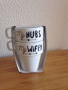 PRIMARK NEW MY HUBS MY WIFEY SET OF 2 STACHING MUGS  #Primark