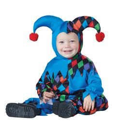 California Costumes Baby Boys' Lil' Jester Infant, Multi, 18 to 24 Months: This little jester is big fun the infant jester costume comes with a jumpsuit with snap closure legs, attached belt detail and a jester hood headpiece. Shoes not included. Baby Halloween Costumes Newborn, Baby Halloween Outfits, Onesie Costumes, Toddler Costumes, Halloween Kostüm, Halloween Costumes For Kids, Clown Costumes, Spooky Costumes, Halloween Parties