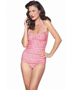247ce2049da Red Gingham One Piece Swimsuit by Esther Williams