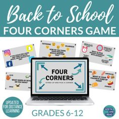 Back to School Four Corners Game for Middle and High School by Write and Read