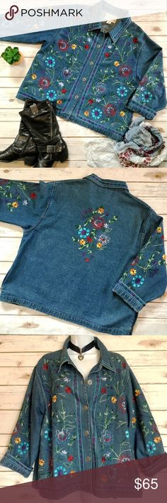 Wonderful Embroidered Jeans BOHO Jean Jacket This could become your new favorite jacket! 100% cotton. Measures 24 inches from armpit to armpit and about 25 inches in length. Tantrums Jackets & Coats Jean Jackets