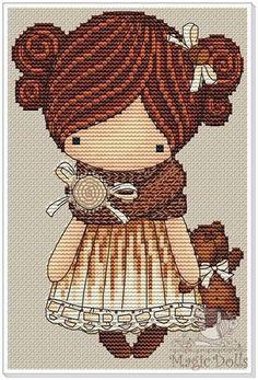 EB Design Magic Dolls - With the Bear by Mila Vozhd and Ekaterina Gafenko Dmc Cross Stitch, Cross Stitch Love, Cross Stitch Designs, Cross Stitching, Cross Stitch Embroidery, Cross Stitch Patterns, Hand Embroidery, Needlepoint Patterns, Embroidery Patterns