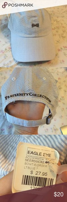 Fraternity Collection Hat- NWT!!! Fraternity Collection Hat- NWT- blue seersucker with brown bow tie Fraternity Collection  Accessories Hats