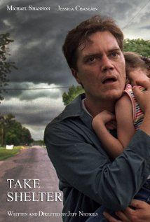 Take Shelter. Just finished watching this. I can't believe Michael Shannon didn't get an award for this. He was fantastic. And the movie was so good -- thriller slash mental illness slash character driven story. I loved it.
