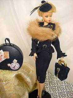 DIOR BLUE SUIT MINK FUR Vintage Barbie Silkstone Fashion Royalty OOAK 10 pc