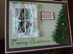 SueBee Cards  Susan Bagley,  Poppy Stamps Madison Window. Impression OBcession tree. Punch Bunch evergreen punch for Christmas tree. Dazzles