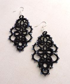 Black Layered Lace Earrings Crystal Jet Czech Glass Beads and Silver Plated Earwires Lace Earrings, Lace Jewelry, Crystal Earrings, Drop Earrings, Unique Jewelry, Jewellery, Black Layers, Tatting Lace, Handmade Items