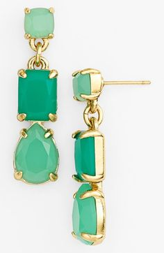 Pairing these beautiful gold and green stone linear earrings with a LBD.