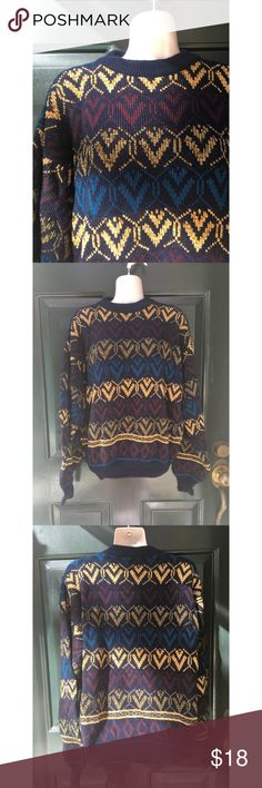 ✨ Rad Vintage Italian Grandpa Style Sweater - Rad vintage Italian grandpa style sweater  - Super cute sweater for winter! Main colors are black, gold, burgundy, and cerulean blue  - Awesome comfy sweater perfect with jeans or leggings!  - Material: 77% Acrylic 23% Wool  - Purchased abroad in Italy, in great condition  - Brand: Vintage  - Size: M (will fit Oversized for an M or smaller)  *20% off 2+ * Make me an offer!! Vintage Sweaters Crew & Scoop Necks