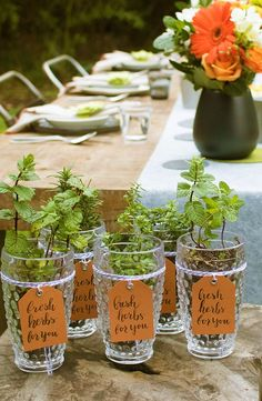 Make your get-together the get-together by sending your guests off in style with herb party favors. This beautiful diy gift can also double as fun place cards and table settings with their tags.