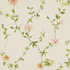 Passion Flower Wallpaper Cream/Red (DPEMPF102) - Sanderson Pemberley Wallpapers Collection