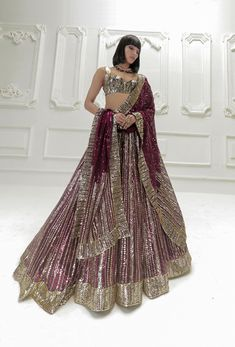 Wine Georgette Sequins Lehenga   Manish Malhotra Beautiful Bridal Dresses, Red Wedding Dresses, Wedding Outfits, Homecoming Dresses, Black Tulle Dress, Tulle Gown, Red Wedding Lehenga, Bridal Lehenga, Anarkali Lehenga