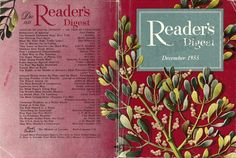 "Reader's Digest front and back cover, December 1955  Illustration: ""Mistletoe"" by Robert H. Blattner"