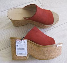 5a09683ffa1  Rare NWT ZARA  CORK AND LEATHER  WEDGES  PLATFORM  SANDALS  SABOT  MULES 36