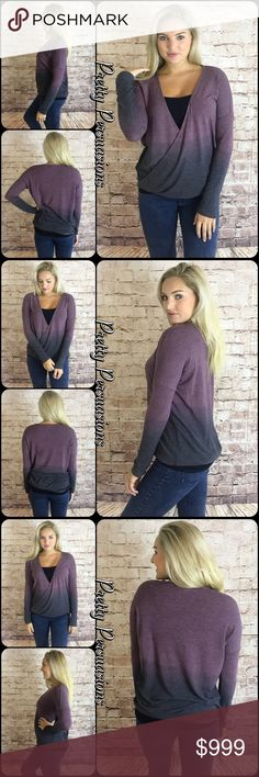 """NWT Ombré Eggplant Charcoal Surplice Sweater NWT Ombré Eggplant Charcoal Surplice Sweater  Available in S, M, L Measurements taken from a small  Length: 23""""/28"""" (front/back length) Bust: 40"""" Waist: 40""""  Also available in Camel/Brown combo in separate listing   Cotton Blend  Features  • ombré tie dye coloring  • long sleeves  • surplice front • relaxed, easy fit • soft, lightweight breathable material • non-sheer  Bundle discounts available  No pp or trades  Item # 1/109210390OEGS purple…"""