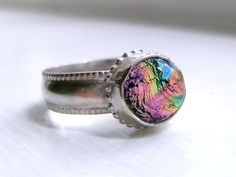 Sparkly Dichroic Glass Ring, Size 6.5, Ready to Ship-The Kaleidoscope Ring. $24.99, via Etsy.