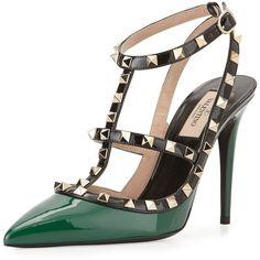 Valentino Rockstud Patent Leather Pump (1,715 SGD) ❤ liked on Polyvore featuring shoes, pumps, heels, valentino, kengät, emerald, high heel shoes, sling back pumps, valentino pumps and heels stilettos