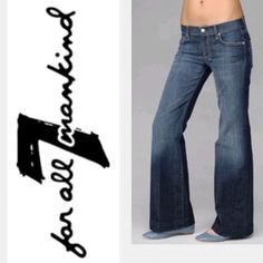 """7 For All Mankind Flare Jeans 7 For All Mankind Flare Jeans come in a medium blue wash and have a flare leg shape. Size: 29 Waist: 31"""" Hips: 34"""" Rise: 8"""" (front) 11"""" (back) Inseam: 32 1/2"""". 100% Cotton. Made in USA. In excellent condition. 7 for all Mankind Jeans Flare & Wide Leg"""