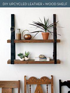 credit: Kate Pruitt [http://www.designsponge.com/2012/08/diy-project-recycled-leather-wood-shelf.html]