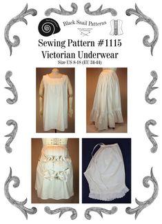 Victorian Underwear Sewing Pattern 1115 Size by BlackSnailPatterns