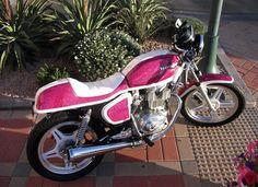 Art Do Women Really Want Pink Motorcycles? by Paul Crowe - The Kneeslider on in Motorcycle Builders motorbikes Pink Motorcycle, Motorcycle Outfit, Best Motorbike, Honda Cb400, Ducati Hypermotard, Pink Bike, Lady Biker, Custom Motorcycles, Bike Life