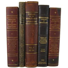 Antique Leather Books Distressed Books Decorative books antique books... ($57) ❤ liked on Polyvore featuring home, home decor and leather home decor