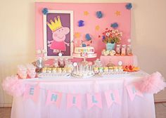 Peppa Pig Birthday Party Supplies Luxury Pink Peppa Pig Birthday Party See More Party Planning Fiestas Peppa Pig, Cumple Peppa Pig, 4th Birthday Parties, Birthday Party Decorations, 3rd Birthday, Birthday Celebration, Party Planning, Peppa Pig Birthday Ideas, Peppa Pig Party Ideas