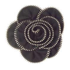 """Zipper Rose-Black Grace Adele Clip-on    A little bit naughty, a little bit nice, this abstract flower transforms your bag or outfit with instant glam.     • 3.5"""" diameter  • Clip-on    https://myfashions.graceadele.us/GraceAdele/Buy/ProductDetails/10507"""