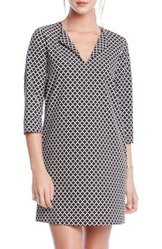 Free shipping and returns on Karen Kane Print Split Neck Shift Dress at Nordstrom.com. <p>A quatrefoil print adds sophisticated graphic appeal to an effortless stretch-woven shift with split-neck styling and three-quarter sleeves.</p> Elegant Dresses, Nice Dresses, Summer Dresses, Work Dresses For Women, Karen Kane, Dress Sewing Patterns, Work Blouse, Nordstrom Dresses, Clothes