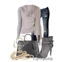"""Gray and Gold"" by verydefinitely on Polyvore"
