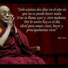 """""""Sólo existen dos días en el año en que no se puede hacer nada. Uno se llama ayer y otro mañana. Por lo tanto, hoy es el día ideal para amar, creer, hacer y principalmente vivir"""" Dalai Lama"""