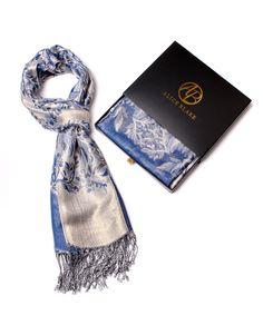 Alice Blake Premium Metallic Floral/Paisley Pashmina Scarf Shawl Wrap w/Gift Box (Blue)