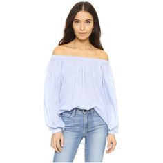 Essentiel Antwerp Leyonce Blouse (610 ZAR) ❤ liked on Polyvore featuring tops, blouses, light blue, off shoulder blouse, off the shoulder bow top, off the shoulder blouse, ruched blouse and off shoulder tops