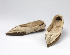 Shoes: ca. 1795-1805, hand-woven silk and linen, skins and leather, hand-embroidered with silk thread, hand-stitched and glued.