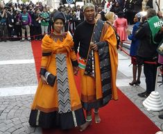 "Chief Zwelivelile ""Mandla"" Mandela walks on red carpet with his wife. African Wear Dresses, African Fashion Ankara, African Attire, African Fashion Traditional, Traditional Dresses, Traditional Wedding, Xhosa Attire, Nigerian Dress, Dress Attire"
