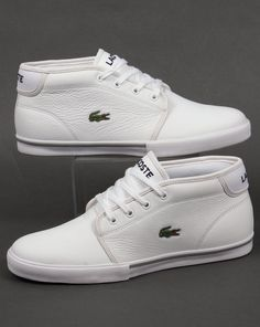 Lacoste Ampthill Leather Trainers White/White with a grippy sole and fashionable looks. We stock many styles of Lacoste footwear online. White Casual Shoes, Casual Sneakers, Leather Sneakers, Lacoste Sneakers, Ivory Shoes, Shoes Heels Wedges, Your Shoes, Cute Shoes, Shoes