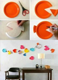 Decorar pared con platos desechables