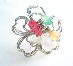 Wire wrapped ring by PlanetEarthHandmade on Etsy