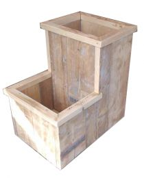 Make it 3 boxes; one tall with a short one on each side Outdoor Projects, Garden Projects, Wood Projects, Diy Outdoor Furniture, Garden Furniture, Outdoor Decor, Garden Planters, Garden Beds, Scaffolding Wood