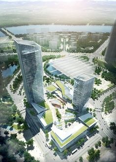 The community should have a mixed function to integrate shopping, living and entertainment. Architecture Visualization, Urban Architecture, Commercial Architecture, Concept Architecture, Futuristic Architecture, Residential Architecture, Amazing Architecture, Chinese Architecture, House Architecture