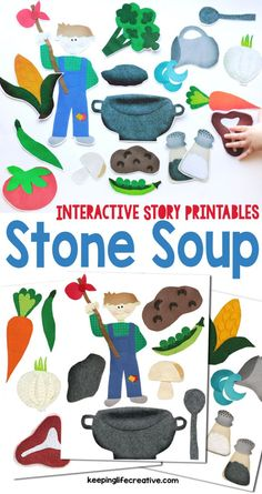 Retell the classic story of Stone Soup with interactive printables for the magnet board, flannel board, and more! (Christmas Bake With Toddlers) Flannel Board Stories, Felt Board Stories, Felt Stories, Flannel Boards, Visual Literacy, Preschool Literacy, Preschool Printables, Preschool Ideas, Craft Ideas