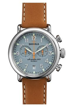 Free shipping and returns on Shinola 'The Runwell Chrono' Leather Strap Watch, 41mm at Nordstrom.com. The original Shinola watch series—meticulously assembled in Detroit from Swiss and imported components—offers expert craftsmanship and classic style in a round, handcrafted timepiece. The 84-piece quartz movement powers the time, date and chronograph subdials, while a double-curved sapphire crystal face protects the clean display. A solid-steel case and premium topstitched leather strap…