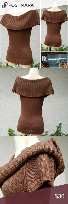 """INC Silk Angora Cowl Neck Knit Sweater MEASUREMENTS:   Shld - Shld 15""""  Armpit - Armpit 17""""  Sleeve 5.5""""  Waist 30""""  Length 24""""  CONDITION: Excellent SIZE Large  55% Silk, 30% Nylon, 15% Angora  Soft knit with ribbed cowl neck and hemline and cap sleeves INC International Concepts Sweaters"""