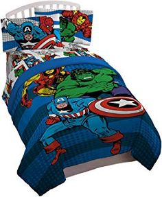 44258dda364b Marvel Avengers Good Guys Twin Full Comforter - Super Soft Kids Reversible  Bedding features Iron Man
