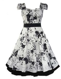 White Floral Dress 50s Swing Dress