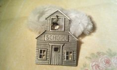Silver School / Schoolhouse With Bell Pin / Brooch  JJ by amyrigs
