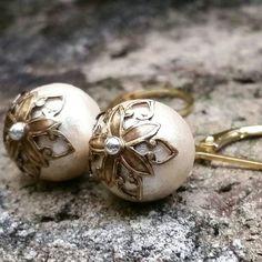 Cotton pearl earrings, cotton anniversary gift, gold & pearl earrings, gold lever back earrings, pearl drop earrings, wedding earrings